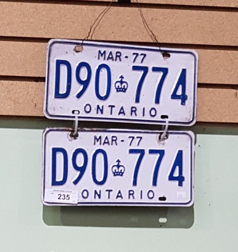 Set Of 1977 Ontario License Plates