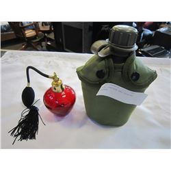 ARMY CANTEEN AND PERFUME BOTTLE