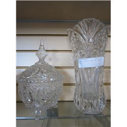 LEADED CRYSTAL VASE AND CANDY DISH