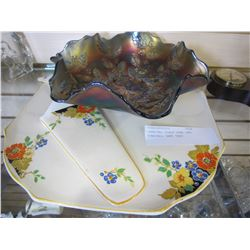 CARNIVAL GLASS BOWL AND TUNSTALL CAKE TRAY