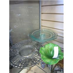 CAKE TRAY, ETCHED GLASS PLATE, AND ART GLASS BOWL