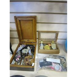 2 WOOD BOXES OF JEWELERY AND BAG OF WATCHES