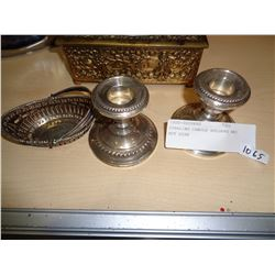 STERLING CANDLE HOLDERS AND NUT DISH