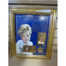 PRINCESS DIANA MEMORIAL PLAQUE 22KT GOLD CARDS AND SILVER COIN