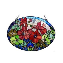 Tiffany-glass Roses Window Panel 24x18