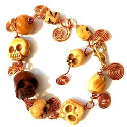Hand-carved Skull Bead & Copper Wire Bracelet