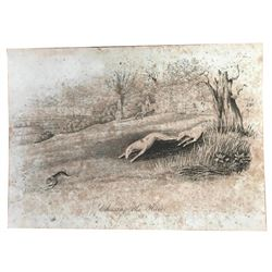 Antique Hand-colored Engraving, Hunting The Hair