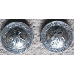 signed 1 3/4  silver bucking horse conchos