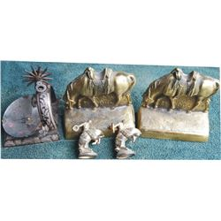 bronze 1940's bookends, silver inlaid spur ashtray