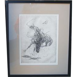 bronc rider, appears to be a Borein etching
