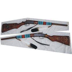 beaded and tacked Indian gun