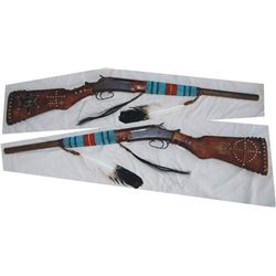 beaded and tacked Indian gun