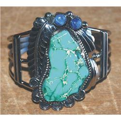 large Navajo silver and jasper bracelet