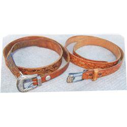 2 tooled belts;  Sunset Trails ranger set and