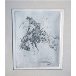 bucking horse etching, probably a Borein copy
