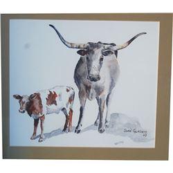 framed water color, longhorns