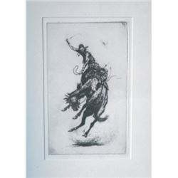 small framed bronc art piece, appears to be a Borein etching but can't see a signature