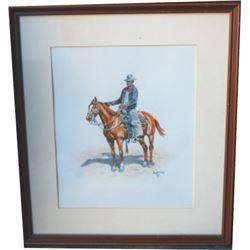 Paul Sollosy litho, horse and rider