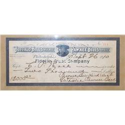 Buffalo Bill, Pawnee Bill 1910 $2000 check, written to CP Rock
