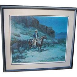 framed Olaf Wieghorst (1899-1988) print, Calif Wrangler