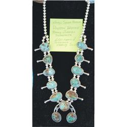 Navajo Royston turquoise and silver squash blossom