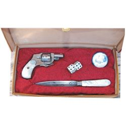 Hamley's gambler's leather kit box with pearl handle knife