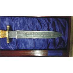 spear point knife etched Wyatt Earp 1890 on blade