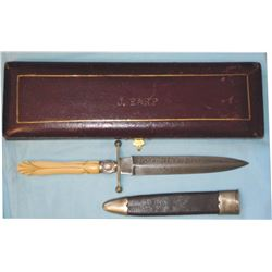 etched blade knife marked Josephine Earp 1895 with ivory handle with silver