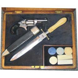 case set Colt New Line .32 RF made 1882, & New Orleans knife