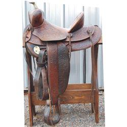 EC Lee full tooled saddle, Pierre, SD circa 1920-30's