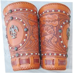 nicely tooled cuffs with silver