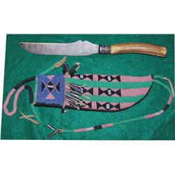 double shear trade knife and Cheyenne beaded scabbard