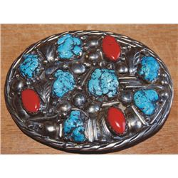Navajo Kingman silver, turquoise and coral belt buckle