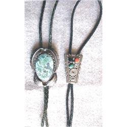 2 Navajo silver bolos