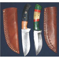 2 damacus blade knives