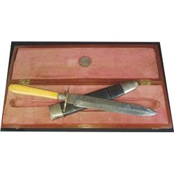 etched blade spear point knife marked Annie Oakley 1893, in wooden case