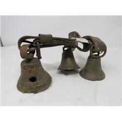 SET OF 3 HARNESS BELLS (BRASS)  *1 BELL IS 1878 SAIGNELEGIER, SWITZERLAND - DAMAGED*