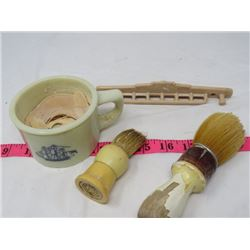SHAVING CUP, 2 BRUSHES & TOOTH BRUSH HOLDER *FULLER* (WALL MOUNTED)