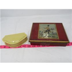 ASST. LOT (2 JEWELLERY BOXES *1 WOODEN, 1 CELLULOID* (WITH ASSORTED ITEMS *STONE, BADGES, ETC.)