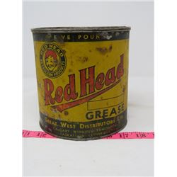 GREASE TIN (RED HEAD) *5 POUNDS, SMALL DENT*