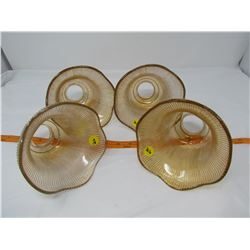 """LOT OF 4 LIGHT SHADES (AMBER COLOR) *6"""" ACROSS*"""