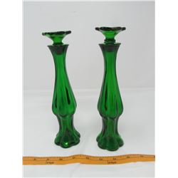 "LOT OF 2 COLOGNE BOTTLES/BUD VASES (AVON) *EMERALD COLOR 9"" h, W/STOPPERS*"