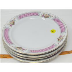"""LOT OF 4 DINNER PLATES (LILING, CHINA) *9"""" ACROSS*"""