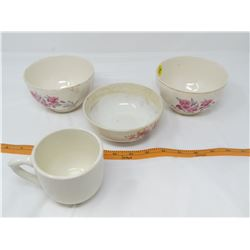 LOT OF 4 (3 BOWLS, 2 CUP) *2 BOWLS MADE IN ENGLAND*