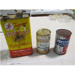 LOT OF TINS (WEED COP, PRESTONE, HARD TO FIND PARALENE OIL TIN)
