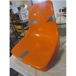 SET OF 4 CHAIRS (HERMAN MILLER STYLE) *ORANGE, FIBREGLASS) *TOPS ONLY-NO BOTTOMS)