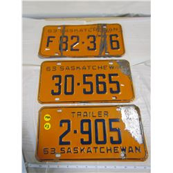 LOT OF 3 LICENCE PLATES (SASKATCHEWAN, CAR, TRAILER, FARM) *1963*