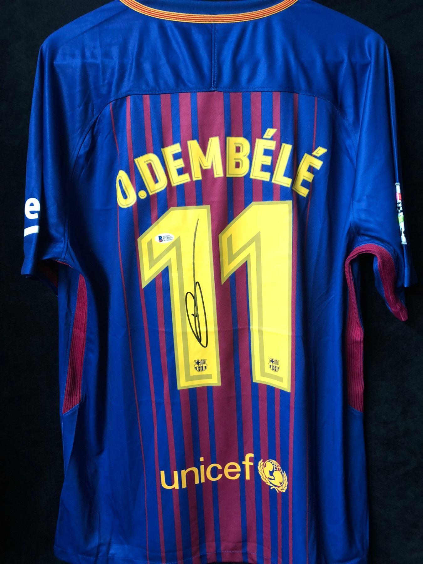 the latest da910 46919 Ousmane Dembele Signed Barcelona Jersey (Beckett COA)