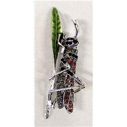 Bling Bling Rhinestone Grasshopper Pin