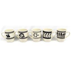 5 Anasazi Traders Mimbres Designed Ceramic Cups